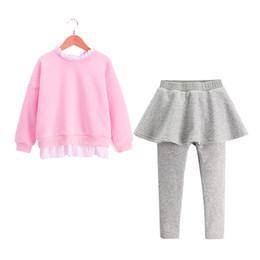 Wholesale Girls Culottes Spring Autumn - Girl Clothe Spring Autumn children Clothing Korean Boutique Bat Sleeve Pink Sweater Gray Culottes Cotton skirt Pant ruffles trouser