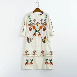 Wholesale Flower Positions - 2017 women vintage position flower and crane embroidery cotton mini dres elegant vestidos casual slim short sleeve dress