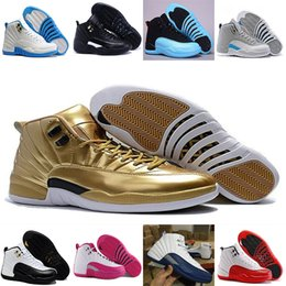 Wholesale Mens Chinese Shoes - Mens A I 12 Red Flu Game Chinese New Year Taxi Gamma Blue Basketball Shoes Sneakers for Men women Sports Shoes