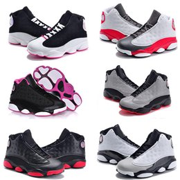 Wholesale Footwear For Children - 13s Bred basketball shoes for kids Air Retro 13 Black cats History of Flight Sports sneaker boy and girl children athletic footwear