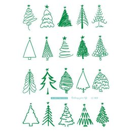 Wholesale Arts Elements - Body Art Merry Christmas Elements Large Tatoo Sticker Green Line Trees Temporary Fake Flash Tattoo Stickers Taty