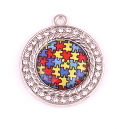 Wholesale Circle Puzzle - 10pcs lot New arrival Autism Awareness Necklace Pendants With Holes Crystal Puzzle Piece Jigsaw Hope Round Charm DIY Jewellery