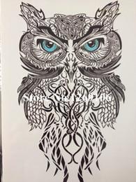 Wholesale 58 Stickers - Wholesale-Simple Blue Eye OWL Hot Sale 21 X 15 CM Temporary Tattoo Stickers Temporary Body Art Waterproof #58