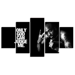 "Wholesale Large Framed Oil Painting Canvas - LARGE 60""x32"" 5Panels Art Canvas Print Tupac Only God Can Judge Me Art Poster Wall Home Decor interior (No Frame)"