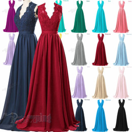 Wholesale Long White Empire Evening Dress - Long Evening Dress Lace V-Neck Bridesmaid Formal Gown Ball Party Evening Prom Dresses