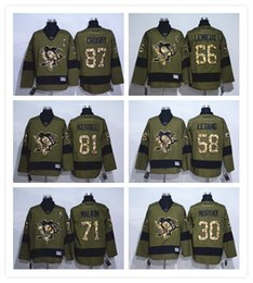 Pittsburgh Penguins da uomo # 87 Crosby # 81 Kessel # 30 Murray # 66 Lemieux # 58 Letang Green Salute per servire Premier Hockey Maglie da