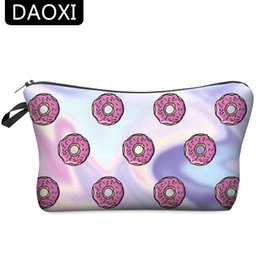 Wholesale Donuts Bag - Wholesale- DAOXI Donuts Cosmetic Bags 3D Printing Travelling Organizer Necessaries for Women's Makeup