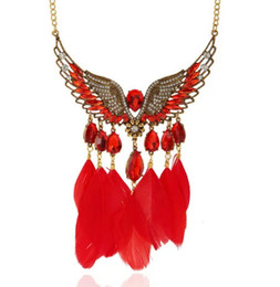 Wholesale Large Halloween Wings - New design women statement necklaces Vintage Colorful gem wings necklace large double-chain flower necklace free shipping
