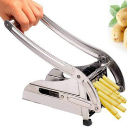 Wholesale Potato Chips Slicer - French Fries Potato Chips Strip Cutting Cutter Machine Maker Stainless Steel Slicer Chopper Dicer + 2 Blades Kitchen Tools
