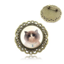 Wholesale Vintage Cat Art - Wholesale- Cute Cat Art Picture Glass Cabochon Brooch Badge Vintage Bronze Accessories for Women Fashion Women Jewelry Gift