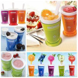 Wholesale Plastic Juice Cups - 5 Colors Creative New Fruits Juice Cup Fruits Sand Ice Cream ZOKU Slush Shake Maker Slushy Milkshake Smoothie Cup CCA6315 50pcs
