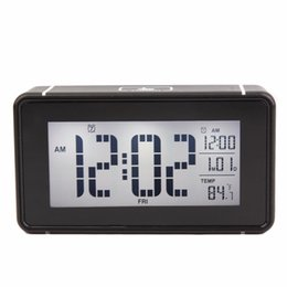 Wholesale Lazy Alarm Clock - Temperature+Calendar Smart LED Electronic Clock Touch Sensing Light White Luminous Lazy Snooze Bedside Digital Alarm Clock