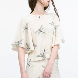 Wholesale Dragonfly Tops - DT82 New Fashion Ladies' elegant Dragonfly print blouses vintage O neck short sleeve shirts casual slim new arrival tops