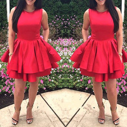 Wholesale Short Red Layered Homecoming Dresses - Simple Fashion Red Short Homecoming Dresses Sleeveless Satin Ruffles Layered 8th Grade Graduation Gowns Custom Made Plus Size Prom Dress
