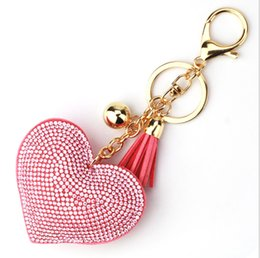 Wholesale Manufacturer Key - Manufacturers wholesale new love tassel key ring, diamond car key chain, bag pendant small gifts, free shipping