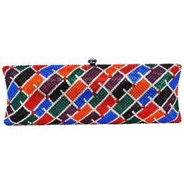 Wholesale Multicolor Evening Bags - Multicolor Crystal Evening Bag High quality Luxury Diamond Plain Clutch Bag Designer rhinestone pochette Women Handbags sc527
