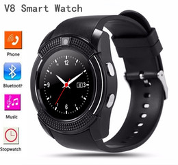 Wholesale Wrist Watches Mp3 Player - New Arrival Bluetooth Smart Watch V8 Support SIM SD Card SMS MP3 Player SmartWatch Wearable Devices For Apple Android Phone