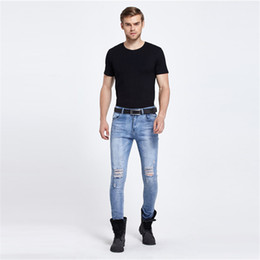 denim fabric washing Coupons - Wholesale- Vintage retro hip-hop fashion men's trousers male havoc biker jeans youth pants washed denim fabric stretch boy trousers