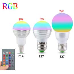 Wholesale Globe Bulb 1w E14 - E27 E14 LED 16 Color Changing RGB Magic Light Bulb Lamp 85-265V 110V 120V 220V RGB Led Light Spotlight + IR Remote Control