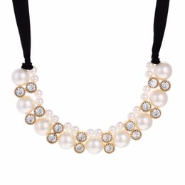 Wholesale Pearl Choker Necklace Row - Double Row Adjustable Band Ribbon Beads Rhinestone Necklace Imitation Pearl Chokers Necklaces Gift DHL Free Shipping