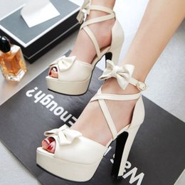Wholesale Open Toe Sandals For Women - SJJH Sweet open-toe sandals candy color shoes with sky high heel and bowknots for fashion women PP178