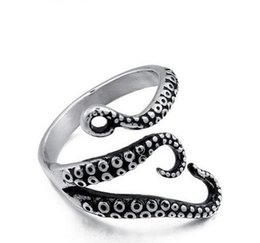 Wholesale Gothic Wedding Ring Men - High quality Stainless Steel Gothic Deep Sea Squid Octopus Ring Fashion Vintage Jewelry Rings For Women Men bague US Size 9-12