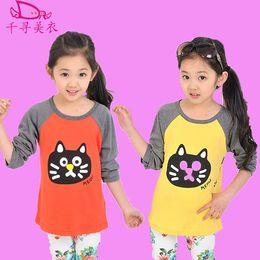 Wholesale Korean Boys Fashion Clothes - Wholesale- New autumn winter children fashion long-sleeved T-shirt Korean boys girls sweatshirt Baby tops cartoon kids clothing cat face