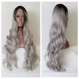 Wholesale Sexy Gray Wigs - Sexy grey Synthetic Lace Front Wig Glueless wavy black to gray Heat Resistant hair Wigs Free shipping 1b gray color wigs