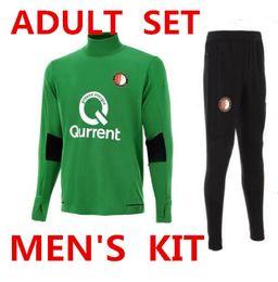 Wholesale Boys Suit Sizes - HAVE FAT SIZE 2017 2018 Feyenoord S-3XL ADULT kit training suit Kuyt Lex VILHENA maillot de foot 17 18 MEN'S green tracksuit SPORTSWEAR set