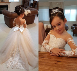 Wholesale Children Pageant Long Gown - Long Sleeves Ball Gown Flower Girls Dresses Sheer Neck Appliques Bow Girls Pageant Dresses Christening Dresses Children Birthday Party Dress