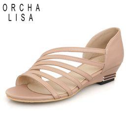 Wholesale Ladies Dress Low Heel Sandals - Wholesale- Stripe New Women's Sandals Summer Fashion Sweet Dress sandals hollow low heel shoes lady casual shoes size 33-43 Free shipping