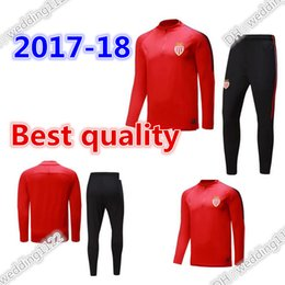 Wholesale Train Set Free - 2017 18 Monaco Best quality soccer jerseys training suit Kits adult football track Suit set Male Hoodies free shipping