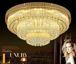 Wholesale Led Sphere Ceiling Lights - D100CM X H38CM Modern LED K9 Crystal Ceiling Lamp Sphere with Remote Control Design Ceiling Light Fixture For Livingroom Hall LLFA