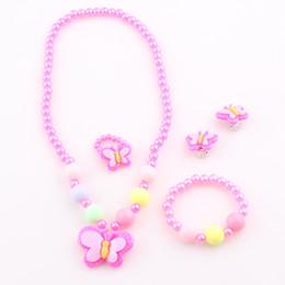 Wholesale Kids Butterfly Earrings - 2016 New Trendy Fashion Children Pretty Butterfly Jewelry Sets Necklace Bracelet Ring Earrings Baby Kids Girls Jewelry Set T4