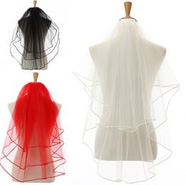 Wholesale Veil Black Edging - 85cm Length Wedding Veils Beaded Ivory White Three Layer Lace Bridal Veils Wedding Accessories Bridal Veils Styles For Bridal 11054