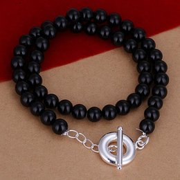 Wholesale Beaded Discount Jewelry - Hot 925 silver necklace female black bead necklace discount jewelry TO necklace - no word Ms. jewelry