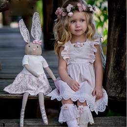 Wholesale Toddler Floral Lace Dress - girls dresses boutique toddler dresses New 2017 Lace Floral Ruffle Sleeve Princess Dress Children Elegant Sundress Kids Party Dreses C1191