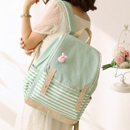 Wholesale japan cute rabbit - Wholesale- Japan and Korean Style Canvas Backpack Fresh Dot Striped Teenagers Girls Travel Bag Laptop Backpacks with Cute Pink Bow Rabbit