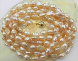 Wholesale Long Cultured Pearl Necklaces - NEW LONG 80 '' INCHES 7-9MM pink AKOYA CULTURED PEARL NECKLACE A++008
