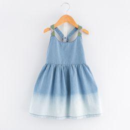 Wholesale Western Style Dresses Fashion - Cute Baby Girls Summer Denim Suspender Crosss Dress Ruffles Embroidered Gradient Dress Cute Children Western Fashion Dresses