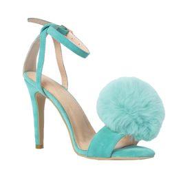 Kolnoo женская ручной меховой шар деко высокий каблук летние сексуальные сандалии платье обувь синий XD403 от