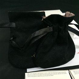 Sac style pandora en Ligne-Style européen de remplacement de sac de poche de velours noir à deux couches rose européen pour pendentif de perle de charme de Pandora