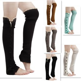 Wholesale Womens Cotton Knee Socks - 2016 christmas leg warmer womens boot socks thigh socks stocking foot socks lace button Leggings foot cover socks knee high socks 8 colours