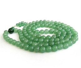 Wholesale Anniversary Deliveries - Wholesale Free delivery Jewelry Women's Girl's 8mm Green Jade Tibet Buddhist 108 Prayer Beads Mala bracelet Necklace