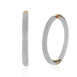 Wholesale Big Hoop Earrings For Women - Hemiston Top Quality Luxury Big Full Paved Cubic Zirconia Creole Earrings, Romantic Jewelry Gift For Women Brincos TF 126E