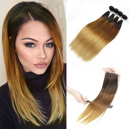 Wholesale Thick Bundle Brazilian Hair - T4 30 27 Ombre Human Hair 4 Bundles With Lace Closure Silky Straight 9A Full Thick Brazilian Peruvian Cambodian Indian Virgin Hair Weave