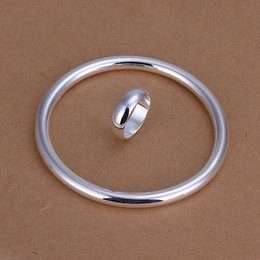 Wholesale Smooth Rings Silver Bracelets - hot sale Smooth circles silver plated jewelry sets for women WS332,nice 925 silver necklace bracelet earring ring set