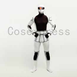 Wholesale Robot Halloween Costumes - Brand New 2016 White Lycra Full Body Zentai Catsuit Halloween Robots Cosplay Costume