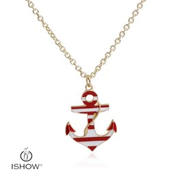 Wholesale Fashion Customer - New fashion customer jewelry red white stripe anchor pendant neckalace oil drop charm gift for friends