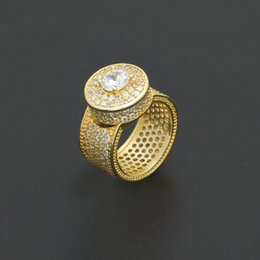Wholesale White Zircon Ring For Men - NEW Hip Hop Ring For Men Silver Iced Out Bling AAA Zircon Rhinestone Crystal Copper Rings Fashion Punk Jewelry